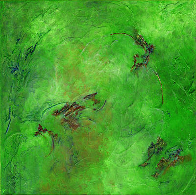 Contemplative Painting - Ten Thousand Year Green by Ruth Drayer
