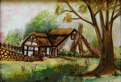 1128b Cottage Painted On Top Of Gold Art Print by Wilma Manhardt