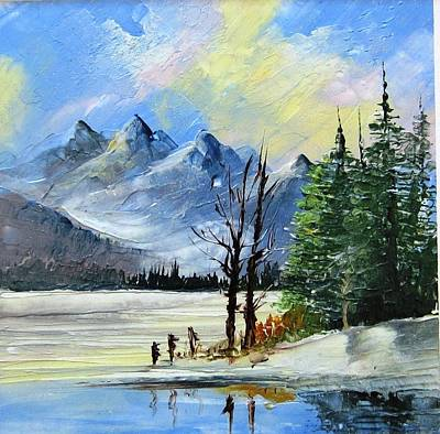 1130b Mountain Lake Scene Art Print by Wilma Manhardt