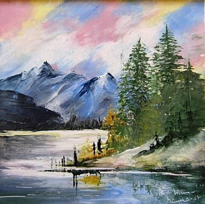 1131b Mountain Lake Scene Art Print by Wilma Manhardt