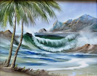 Hand-painted Ceramic Art Tile Ceramic Art - 1132b Waterwave Scene by Wilma Manhardt
