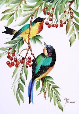 1152 Little Birds And Berries Art Print by Wilma Manhardt