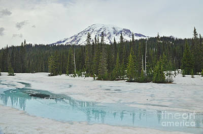 Photograph - #12-3 Reflection Lake Snow In Summer by Jack Moskovita
