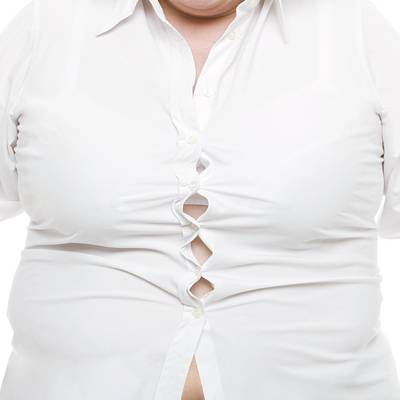 Button Down Shirt Photograph - Overweight Woman by