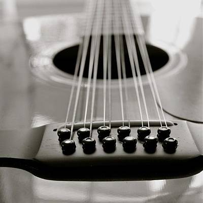 String Instruments Photograph - 12 String Guitar Long View Bw by Justin Connor