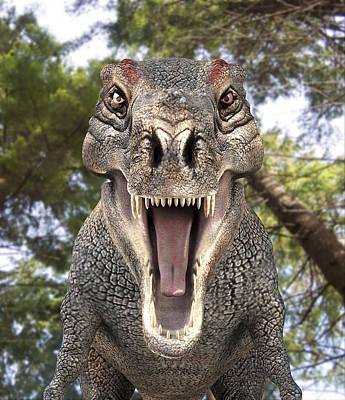 Tyrannosaurus Rex Dinosaur Art Print by Roger Harris
