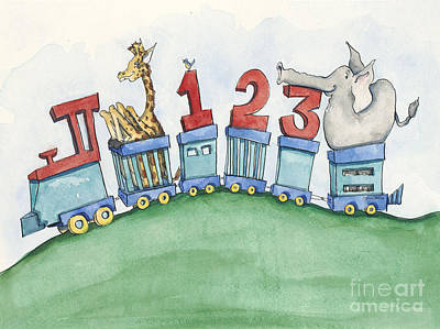 123 Animal Train Print by Annie Laurie