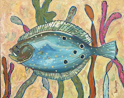 Flounder Painting - 127 20x16 Absecon Inlet Flattie by Popo  Flanigan