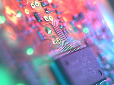 Circuit Board Art Print by Tek Image