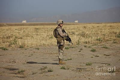 Popular Rustic Neutral Tones - U.s. Marine Patrols A Wadi Near Kunduz by Terry Moore