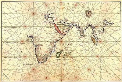 Nautical Chart Photograph - 1544 Nautical Map Of The Indian Ocean by Everett