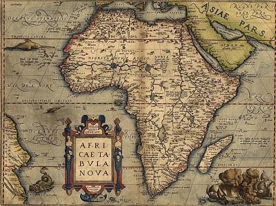 1570 Map Of Africa By Abraham Ortelius Art Print by Everett