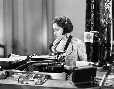 Dictaphones Photograph - Silent Film Still: Offices by Granger