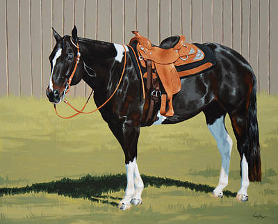 Pinto Horse Painting - Untitled  by Lesley Alexander