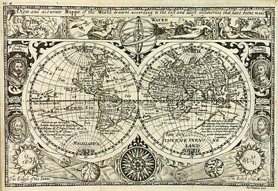 1628 Map Of The World Art Print
