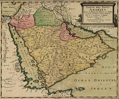 Saudia Photograph - 1654 French Map Of Arabian Peninsula by Everett