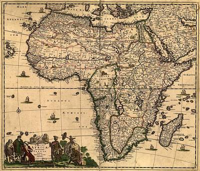 1688 Map Of Africa, Densely Filled Art Print by Everett