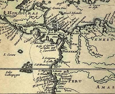 1698 W. Dampier Pirate Naturalist Map Art Print by Paul D Stewart