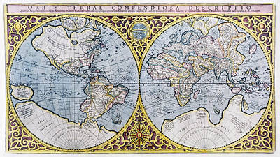 16th Century World Map Art Print by Georgette Douwma