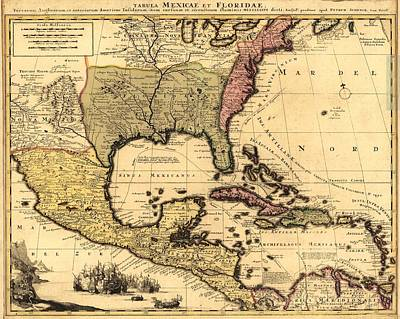 1710 Dutch Map Of North America Art Print by Everett