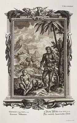 Creationism Photograph - 1731 Johann Scheuchzer Hairy Esau Bible by Paul D Stewart