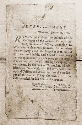 1776 Advertisement For The Return Art Print