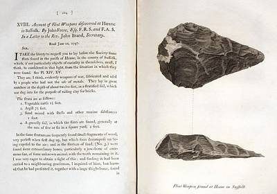 Handaxe Photograph - 1797 First Handaxe John Frere Of Hoxne 1 by Paul D Stewart