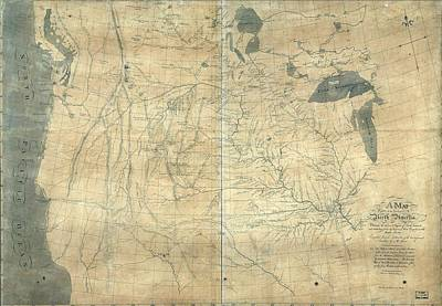 1805 Lewis And Clark Map Of Part Art Print