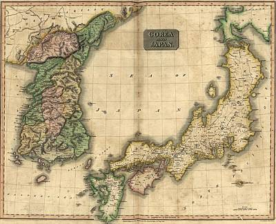 1815 Map Of Japan And Korea, Showing Art Print by Everett