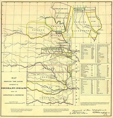 Choctaw Photograph - 1836 Map Showing The Indian Territories by Everett