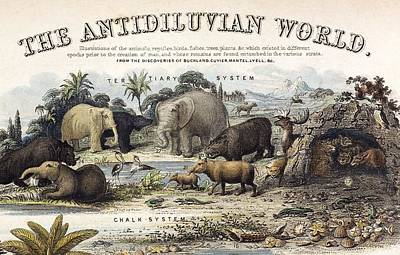 1849 The Antidiluvian World Crop Jurassic Art Print by Paul D Stewart