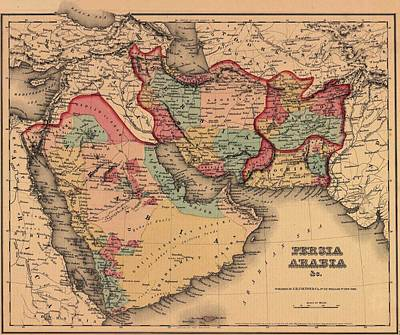 Saudia Photograph - 1855 Map Clearly Shows The Political by Everett