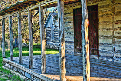 1860 Log Cabin Porch Art Print by Linda Phelps