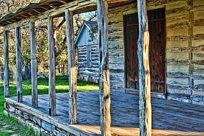 Log Cabin Art Photograph - 1860 Log Cabin Porch by Linda Phelps