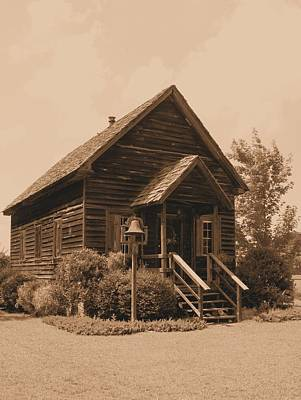 Little House On The Prairie Photograph - 1876 Schoolhouse Sepia by Lynnette Johns