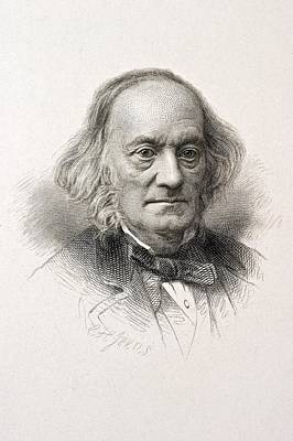 Darwin Fossils Photograph - 1880 Sir Richard Owen Engraved Portrait by Paul D Stewart