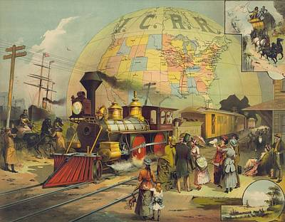 1880s Photograph - 1882 Poster For The Illinois Central by Everett