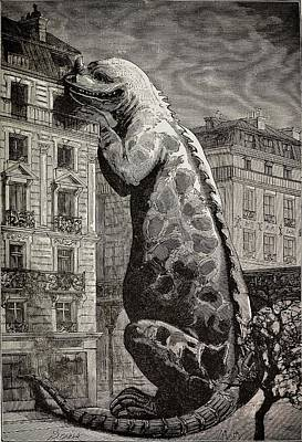 Fossil Reconstruction Photograph - 1886 Flammarion's Iguanodon Dinosaur by Paul D Stewart