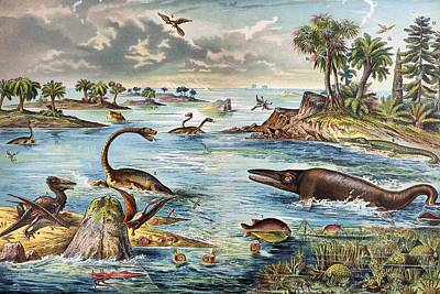 Pterodactyle Photograph - 1888 Colour Lithograph Of Jurassic by Paul D Stewart