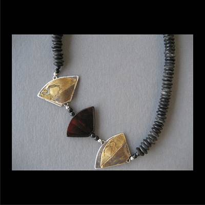 Jewelry - 189 Triangles And Carnelian by Brenda Berdnik