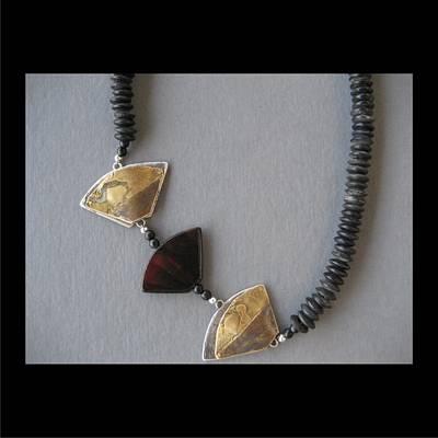 Jewelry - 189 Triangles And Carnelian by Brenda Berdnik