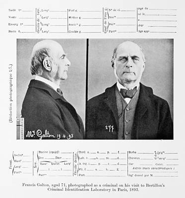 Galton Photograph - 1893 Francis Galton Criminal Photograph by Paul D Stewart