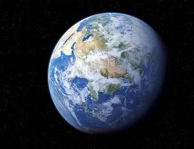 Earth From Space, Artwork Art Print by Detlev Van Ravenswaay