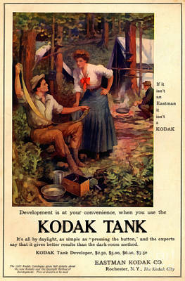 Vintage Camera Drawing - 1907 Kodak Tank Vintage Ad by Anne Kitzman