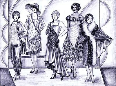 Evening Gown Drawing - 1920s British Fashions by Mel Thompson