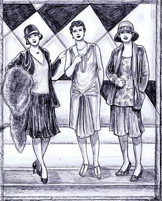 Evening Gown Drawing - 1920s Styles by Mel Thompson