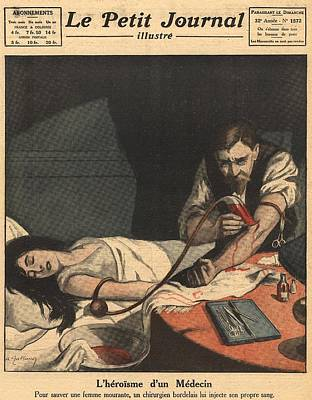 Unconscious Photograph - 1921 Blood Transfusion.  An Unconscious by Everett