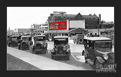 Coca Cola Sign Drawing - 1924 Vintage Automobiles Parked At Atlantic City by Anne Kitzman