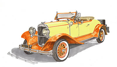 Covered Bridge Painting - 1929 Chrysler 65 Roadster by Jack Pumphrey