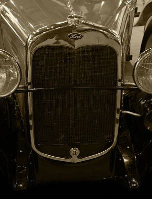 Photograph - 1930 Ford Model A Rumble Seat Roadster Grill Sepia Tone by Ken Smith